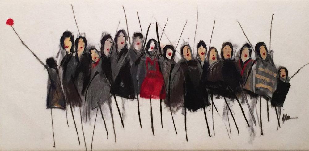 "JOHANAN HERSON   Promenade Original Acrylic Fiber | Soft Art 30"" H x 61"" W"