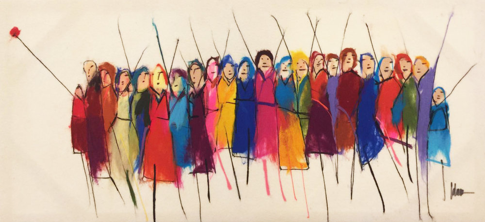 "JOHANAN HERSON   Promenade II Original Acrylic Fiber | Soft Art 30"" H x 61"" W"
