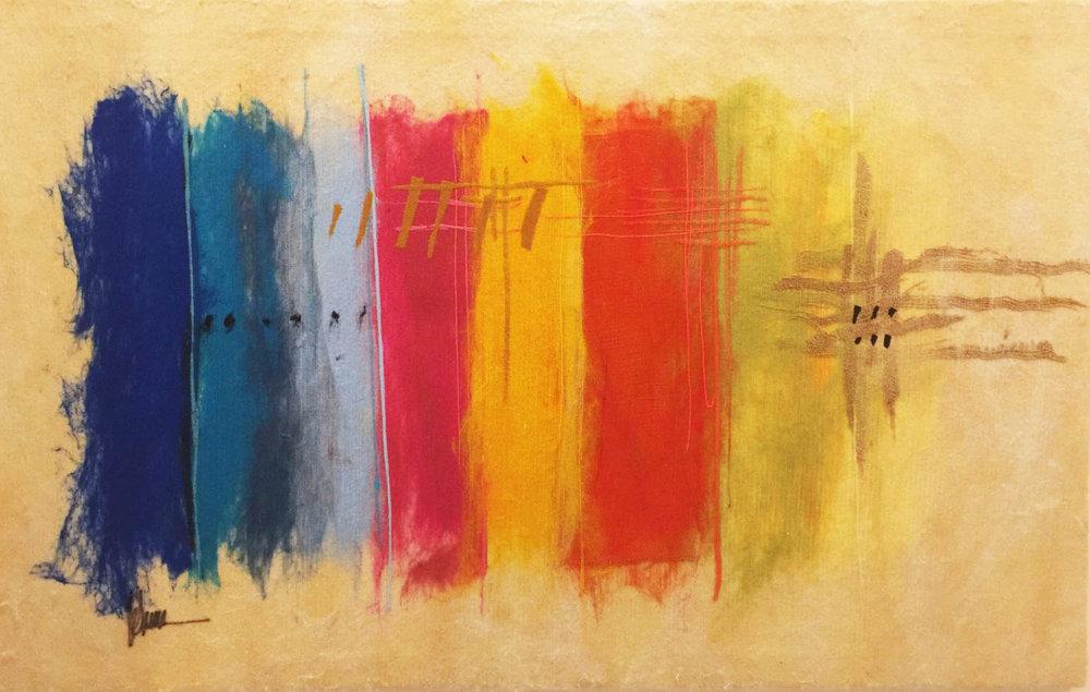"""SHAI MANDEL Color Scheme VII Original Acrylic Fiber   Soft Art 34"""" H x 54"""" W"""
