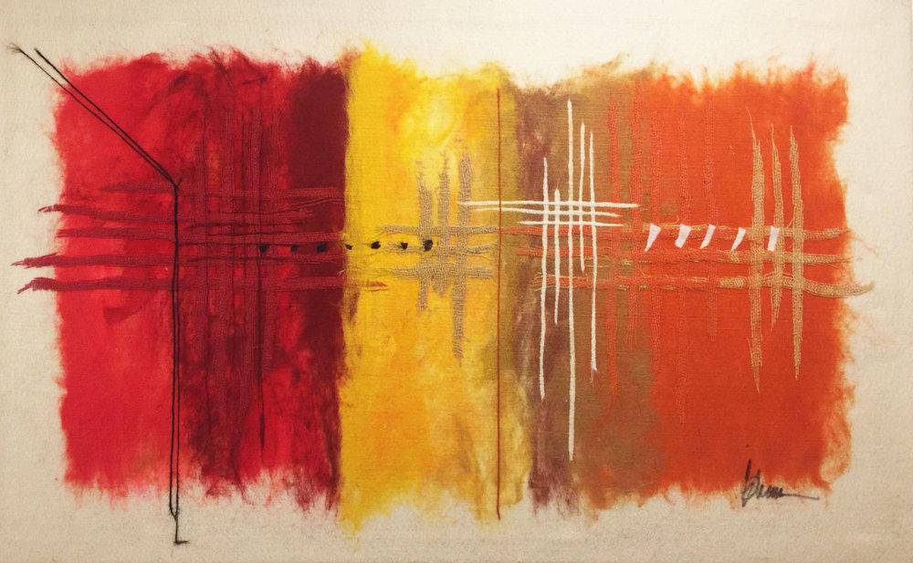 "SHAI MANDEL Color Scheme II Original Acrylic Fiber   Soft Art 26"" H x 55"" W"