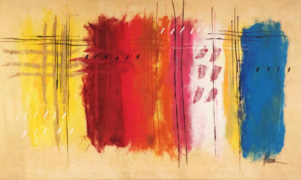 """SHAI MANDEL Color Scheme V Original Acrylic Fiber   Soft Art 34"""" H x 55"""" W"""