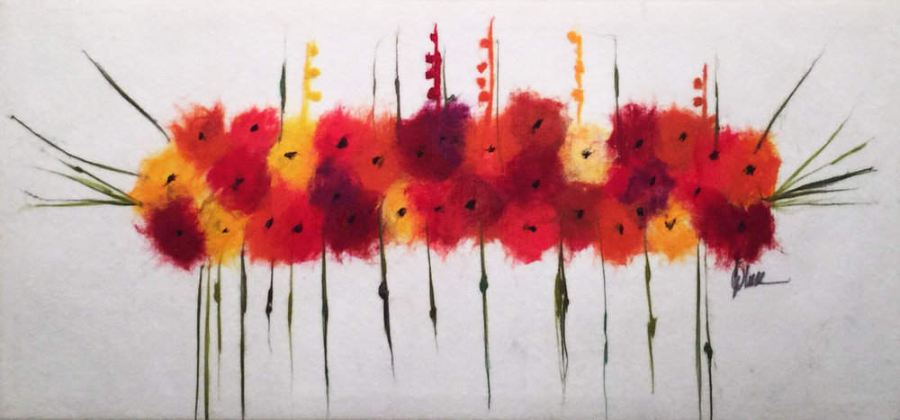 "SHAI MANDEL Bouqet II Original Acrylic Fiber   Soft Art 26"" H x 55"" W"