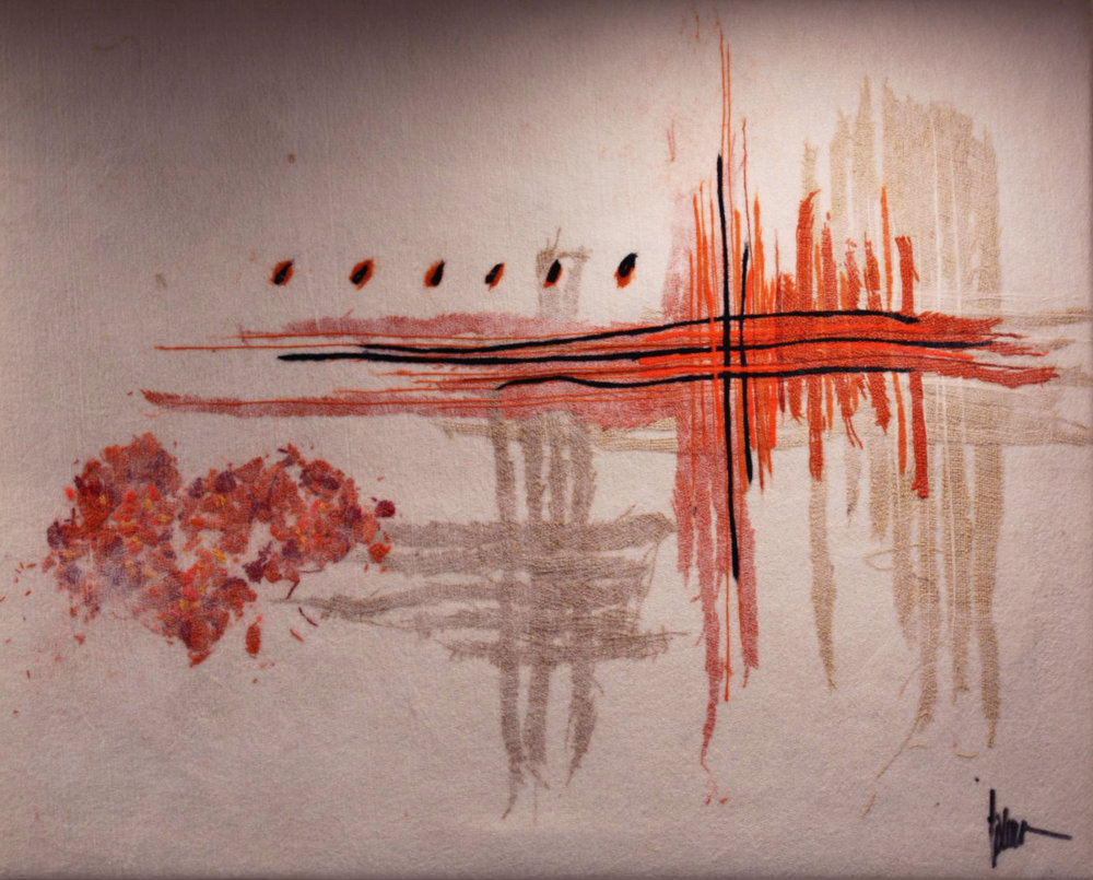"SHAI MANDEL Abstract JS Original Acrylic Fiber   Soft Art 31"" H x 40"" W"