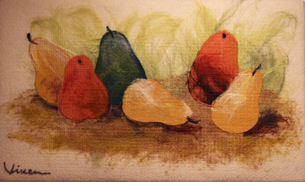 "VIKTORIA TALAEVSKY  Pears Original Acrylic Fiber | Soft Art 13"" H x 20"" W"