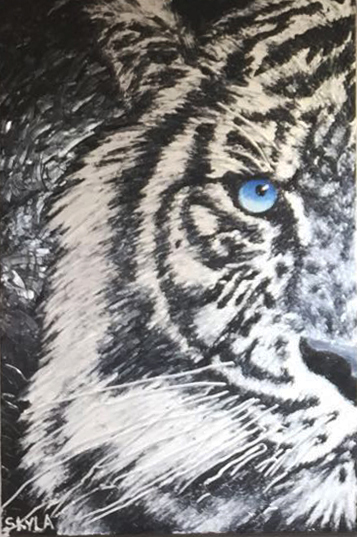 "SKYLA WAYRYNEN   A Wounded Tiger is A Dangerous Beast   Original Oil   36""H X 24""W"