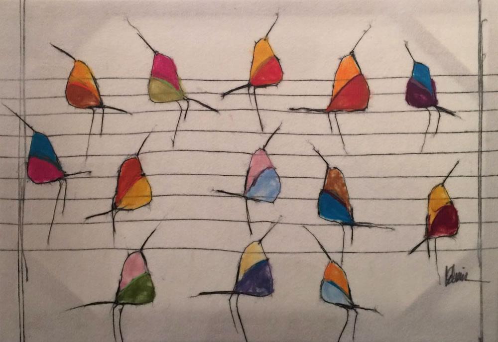 "JOHANAN HERSON Birds Original Acrylic Fiber | Soft Art 38"" H x 51"" W"