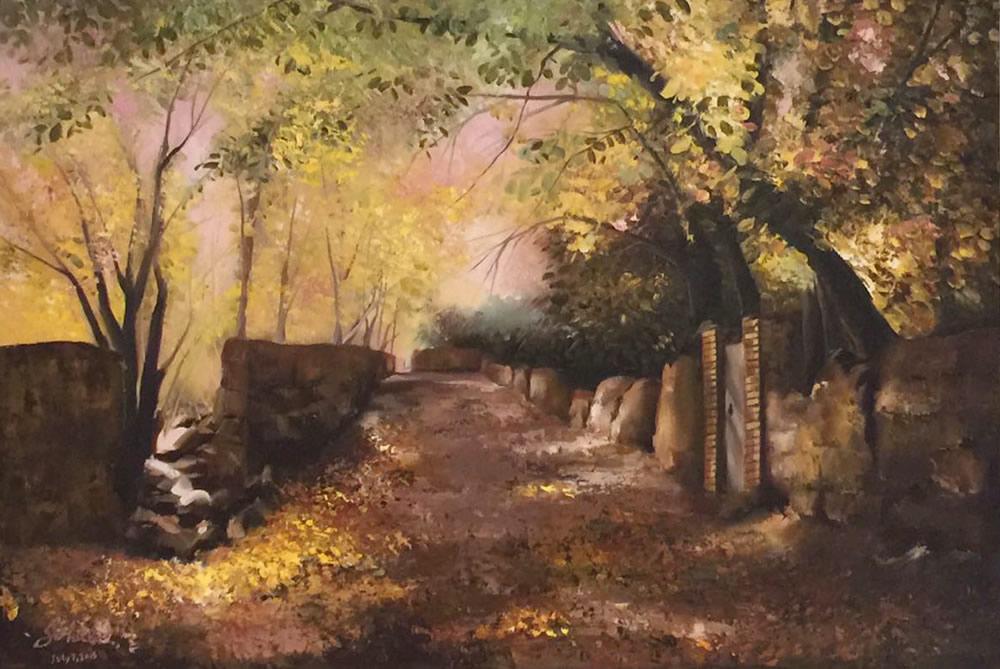 "SOGEILA ABASSI NEJA Path of Gold Original Acrylic 24"" H x 38"" W"