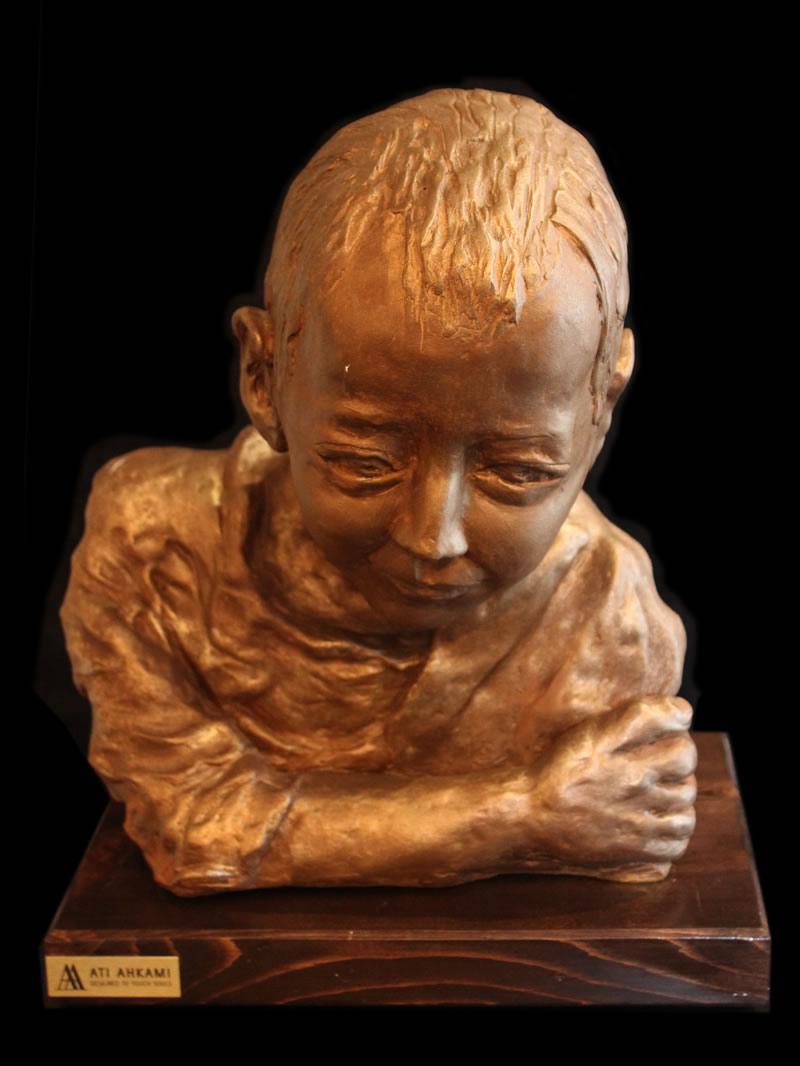 "ATI AHKAMI Nathanel Sculpture / Porcelain Clay Acrylic 16""H X 12""W"