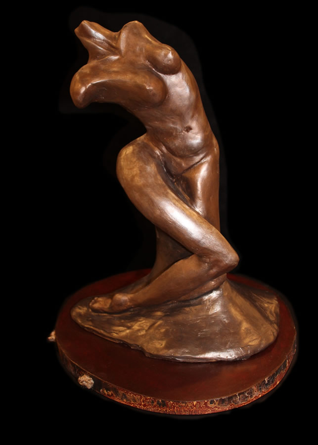 "ATI AHKAMI Sensual Woman Sculpture / Porcelain Clay Acrylic 18""H X 13""W"