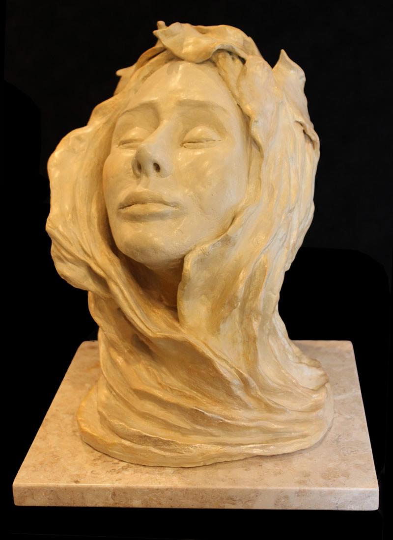 "ATI AHKAMI Roseveil Sculpture / Porcelain Clay Acrylic 16""H X 11""W"