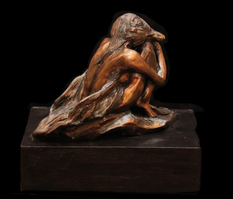 "ATI AHKAMI   Benten Goddes of Fortune Sculpture / Porcelain Clay Acrylic 10""H X 10""W"