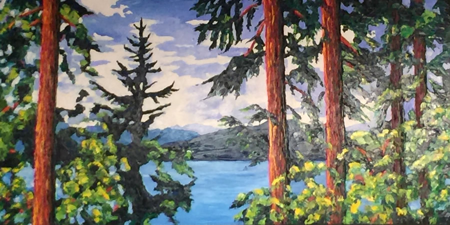 "LISA WOLFIN  Trees Speak a Sophisticated Silent Language Original Oil 30"" H x 60"" W"