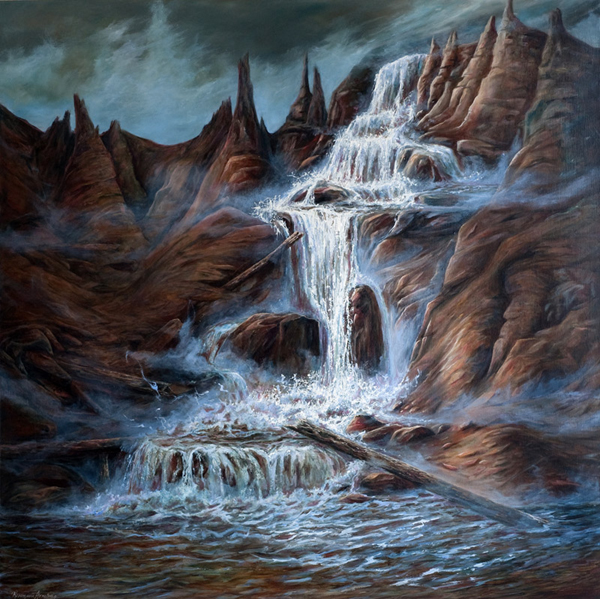"ROSEMARIE ARMSTRONG  LYLE CREEK IN THE FAERIE SPIRES Original Oil 36"" H x 36"" W"