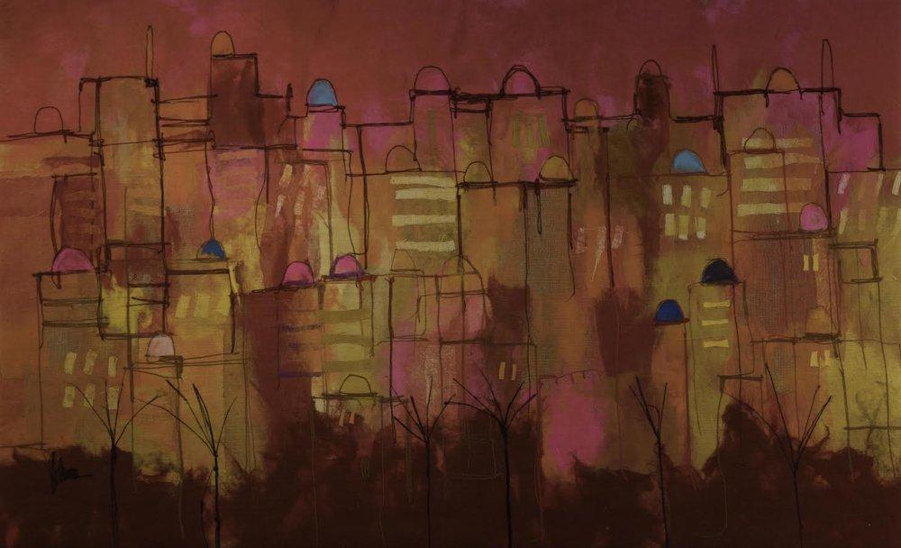 "JOHANAN HERSON Jerusalem Original Acrylic Fiber | Soft Art 52"" H x 85"" W"