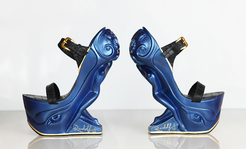 RUDOLF SOKOLOVSKI Queen Sculpture - High Heels Midnight Blue Hand made form Fiberglass Resin & Premium Leather 7 Inch Rise Size 8 US