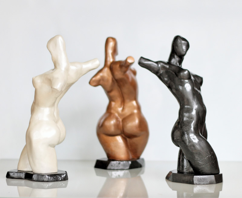 RUDOLF SOKOLOVSKI Havana Nights Triptet Pearl White, Midnight Black & Bronze Cast Stone 14 inches