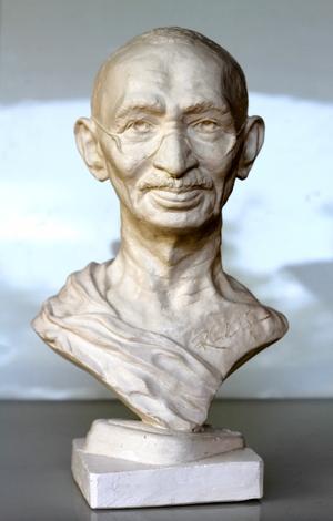 RUDOLF SOKOLOVSKI Gandhi Life Size Cast Stone 20 inches