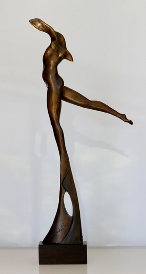 RUDOLF SOKOLOVSKI Transcendence Bronze with Brown Patina African Ebony Wood Base 24 inches