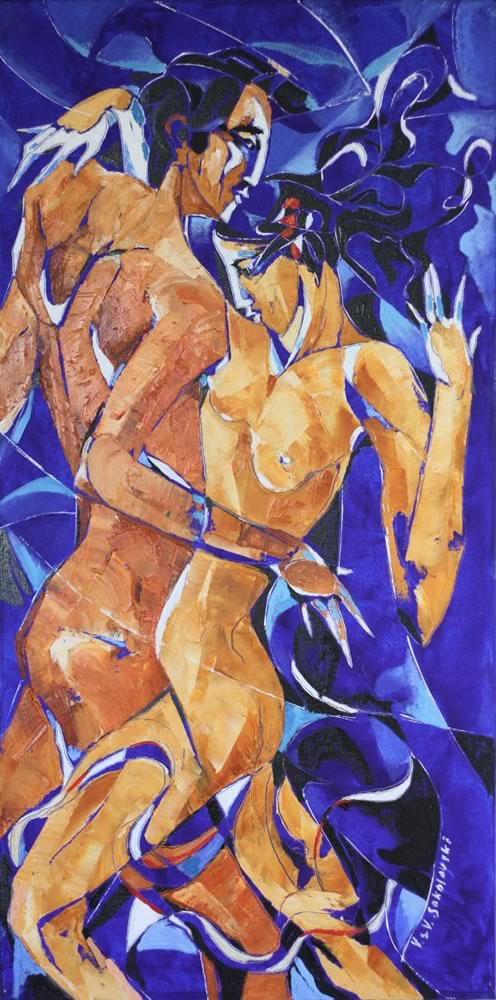 VALERI SOKOLOVSKI  Tango Blue Oil on canvas 36H x 18W inches