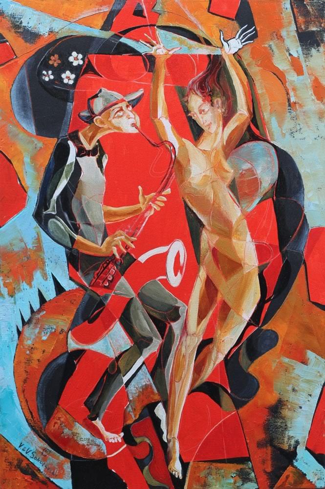 VALERI SOKOLOVSKI  Red sax Oil on canvas 36 x 18 inches