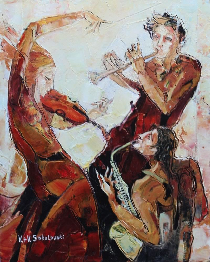 VALERI SOKOLOVSKI  Trio Oil on canvas 20H x 16W inches
