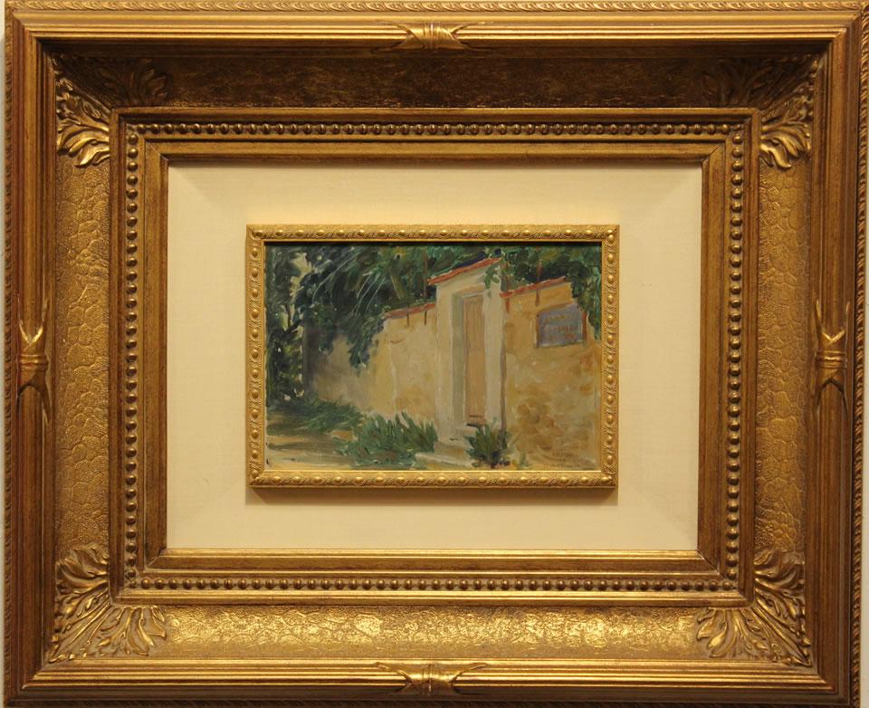 """GRANT WOOD Unknown Garden Door Original Oil 6.5"""" H x 9.5"""" W"""