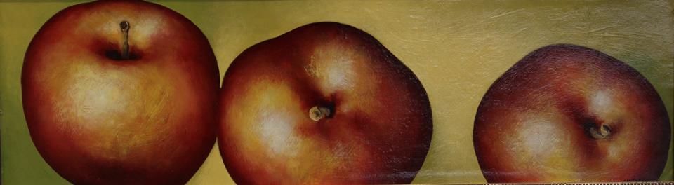 "ALEXANDER SHEVERSKY  3 Apples Original Oil 9"" x 31"""