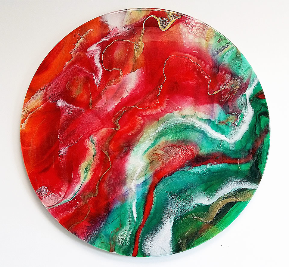 ANNA SHEVERSKY  Red Satin Jazz Mixed Media 30 inches