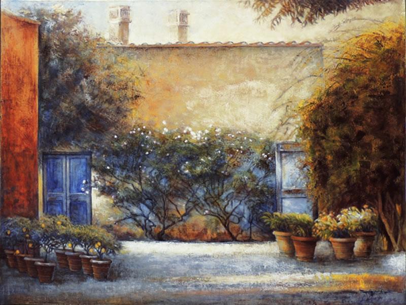 "JANICE MCLEAN  il Gardino Original Oil, leafing & marble dust 36"" x 48"""
