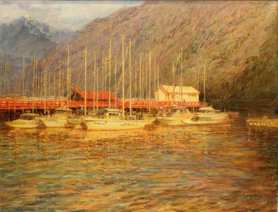 """ZHANG AIWEI Horseshoe Bay Original Oil 48"""" H x 59"""" W"""