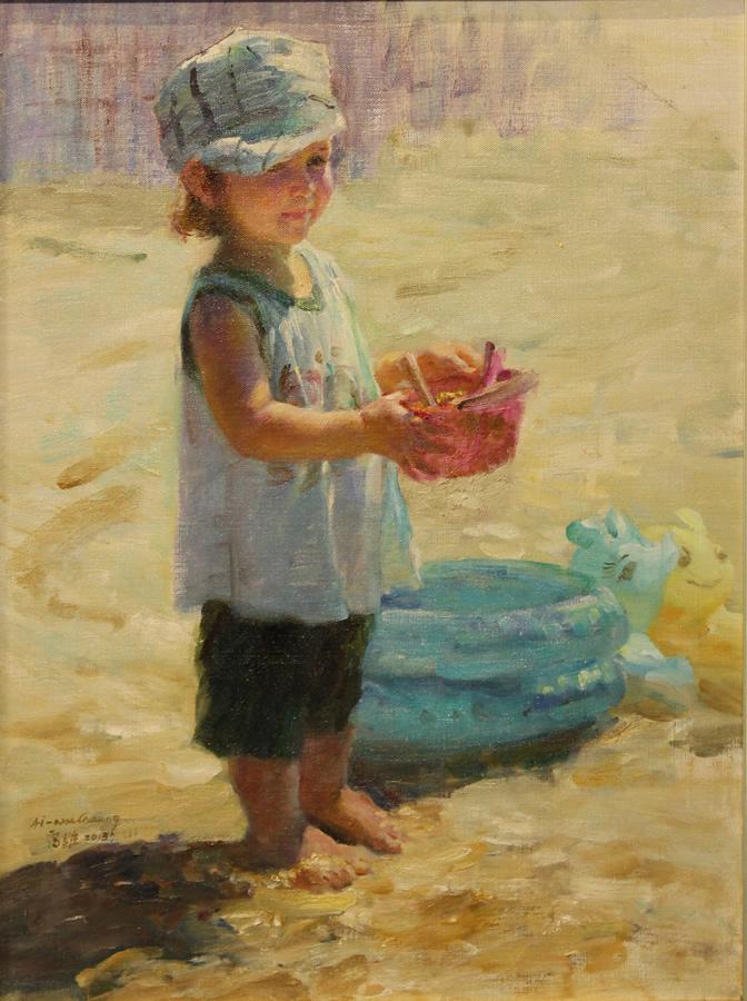 """ZHANG AIWEI Mary Original Oil 31"""" H x 24"""" W"""