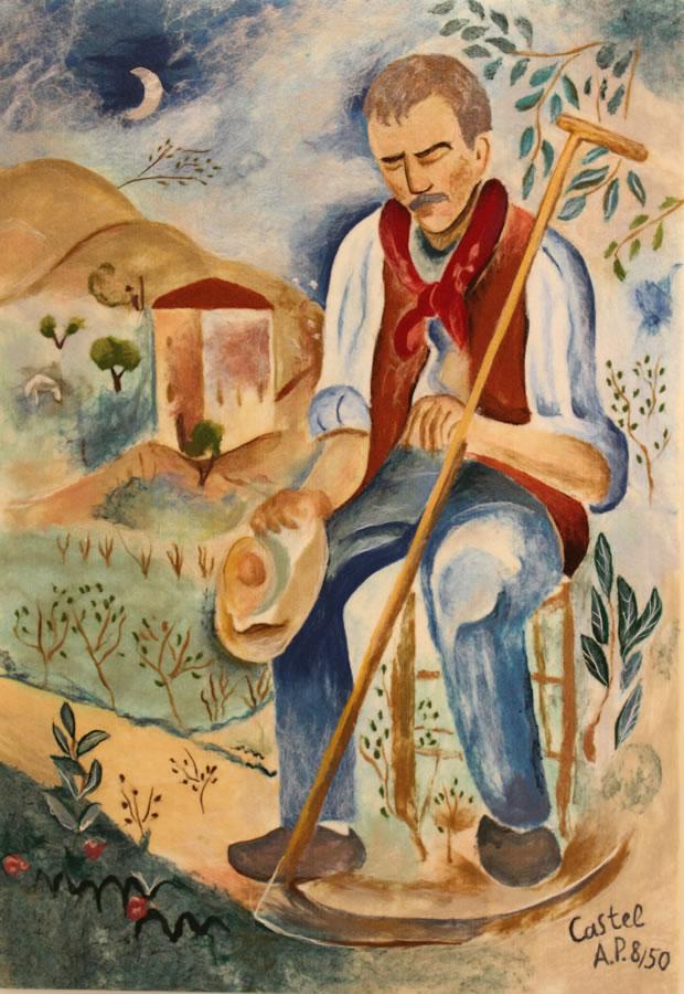 "MOSHE CASTEL  The Resting Gardener Original Acrylic Fiber | Soft Art 61"" H X 42"" W"