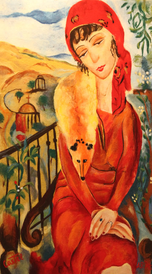 "MOSHE CASTEL  The Woman and the Fox Fur 56X31 Original Acrylic Fiber | Soft Art 56"" H X 31"" W"