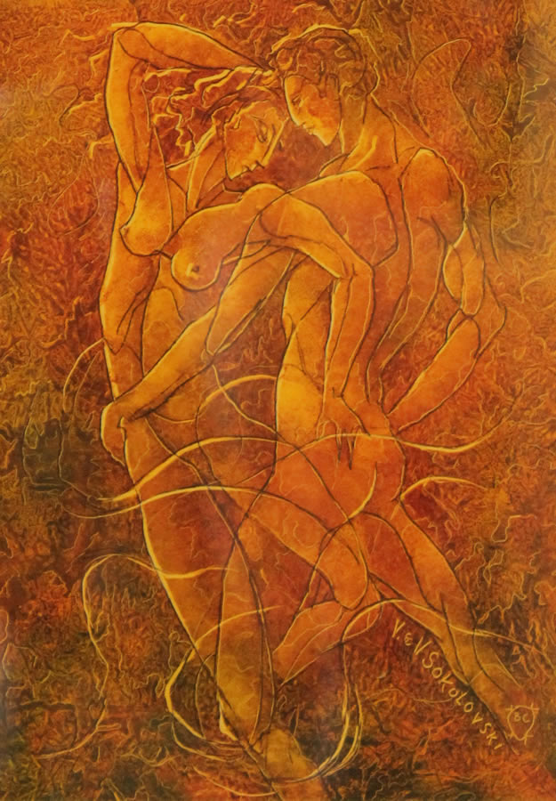 "VALERI SOKOLOVSKI  The Tango Series I Original Oil 15.5""W X 19""H"