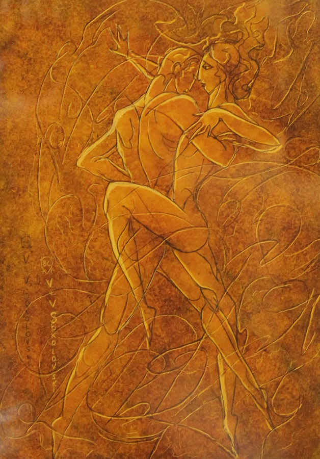 "VALERI SOKOLOVSKI  The Tango Series V Original Oil 15.5""W X 19""H"