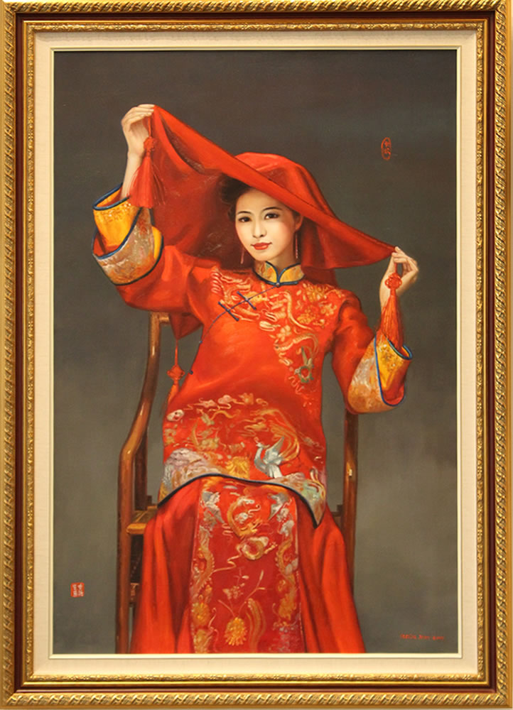 "CECILIA AISIN-GIORO   The Bride Original Oil On Canvas 39""H X 55""W"