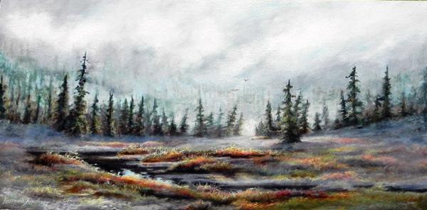 ROSEMARIE ARMSTRONG  Rocky Mountain Marshland Original Oil framed 24 X 24