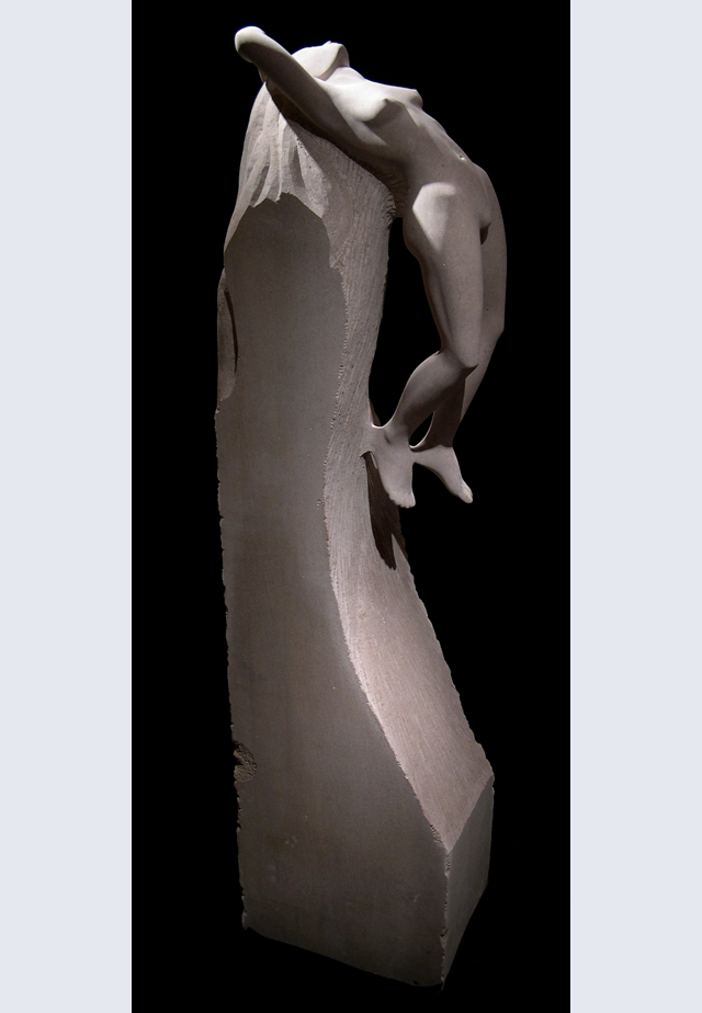 MICHAEL BINKLEY  Awakening Original Sculpture. Indiana Limestone 72 X 18 X 13