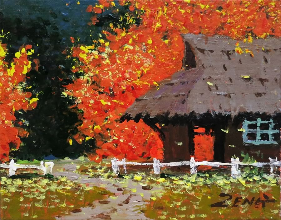 UNCLE ZENG  Ranch in Autumn Original Mixed Media 8 X 10