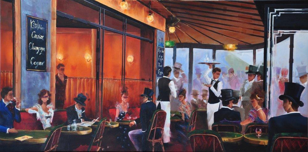 KAMIAR GAJOUM  Cafe De Flore Ambiance Original Oil 18X36.