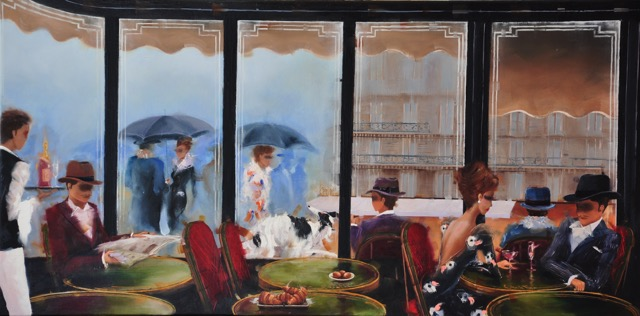 KAMIAR GAJOUM  Cafe De Flore Apres-Midi Original Oil 18X36.