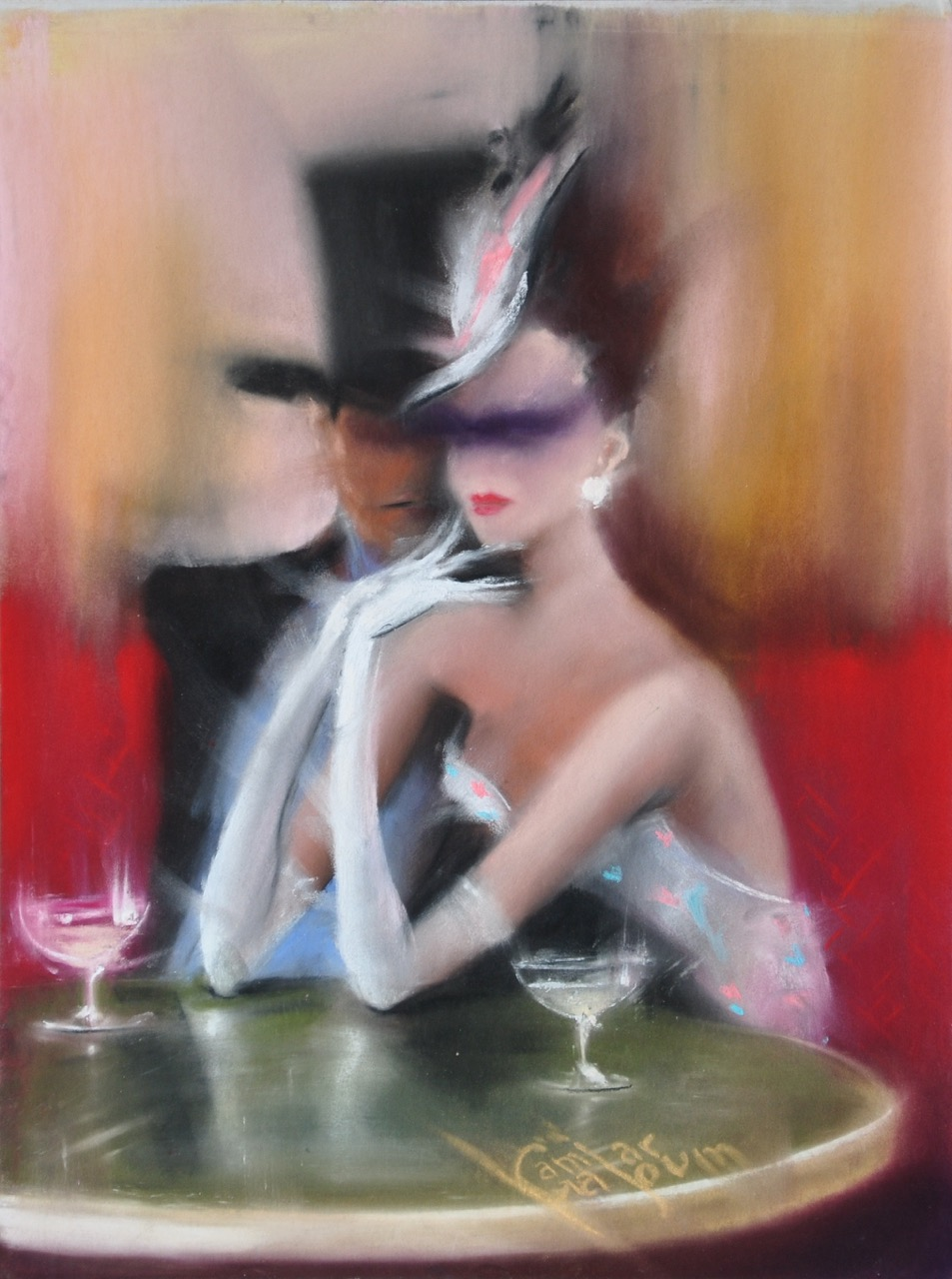 KAMIAR GAJOUM  Elegant Couple at Cafe De Flore Original Pastel 18.5 X 22.5.