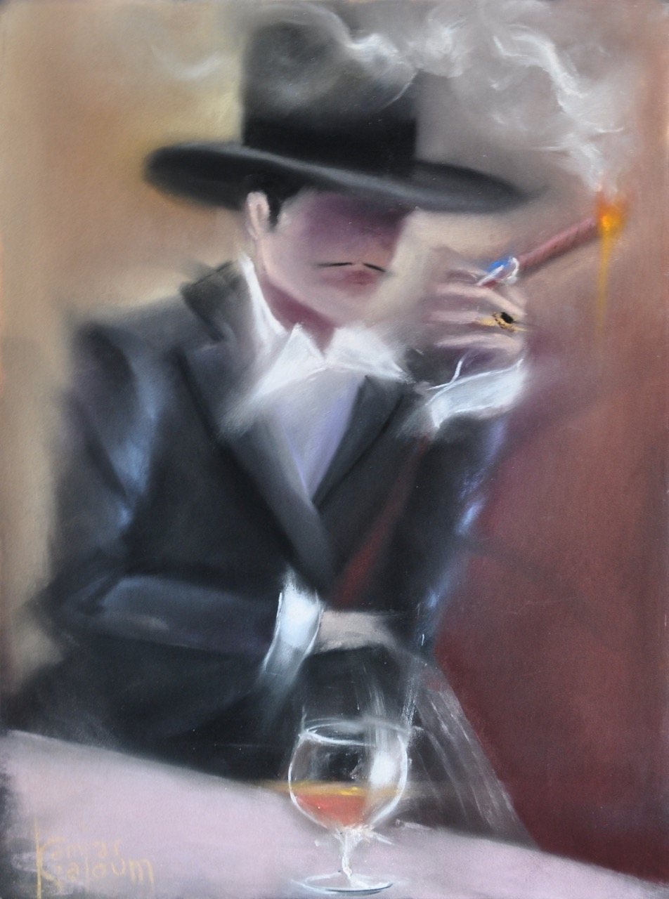 KAMIAR GAJOUM  Monsieur Avec Cigare Original Oil 18 X 22