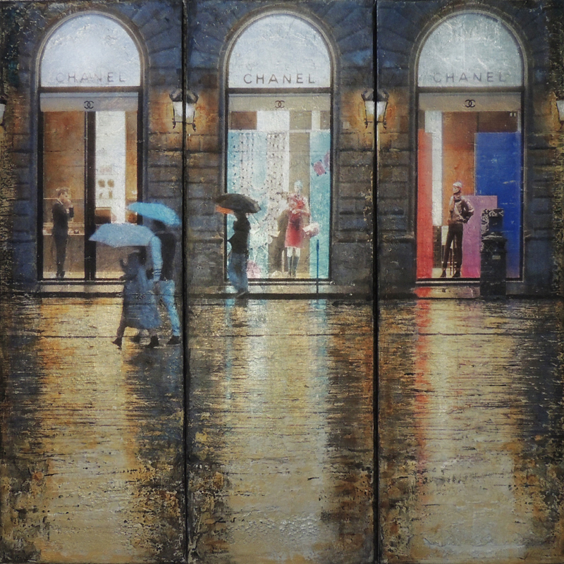 JANICE MCLEAN Chanel in the Rain Original Acrylic Marble Dust and Leafing 36 X 36 Tryptich