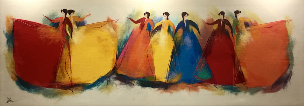 "ELENA YAMPOLSKY Dancers Original Acrylic Fiber | Soft Art 34"" H x 91"" W"