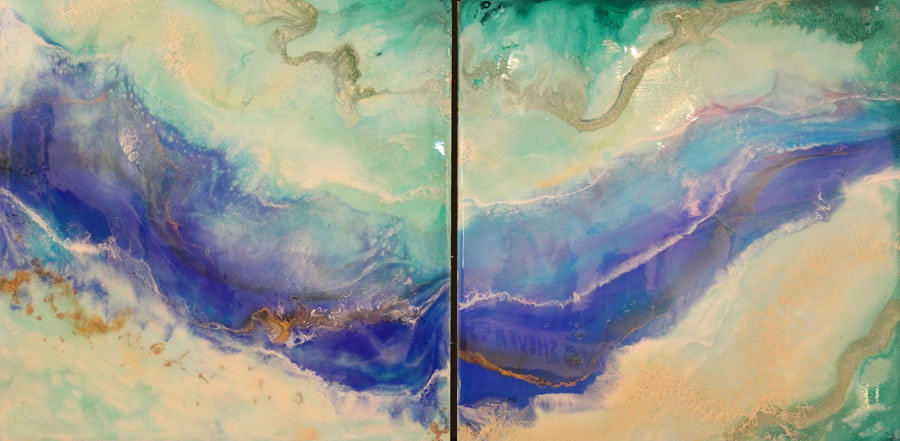 ANNA SHEVERSKY  Fraser River Diptic Original Mixed Media 48 X 48