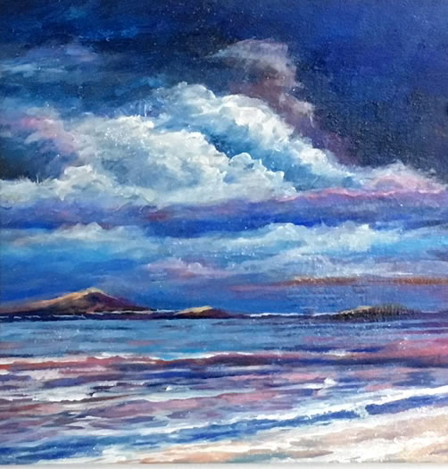 ROSEMARIE ARMSTRONG  Sunkissed Shores Original Oil 6 X 6
