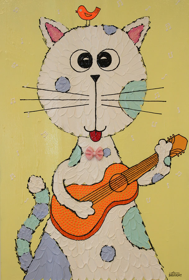 ANNA SHEVERSKY  Cat and Guitar Original Oil 36 X 24