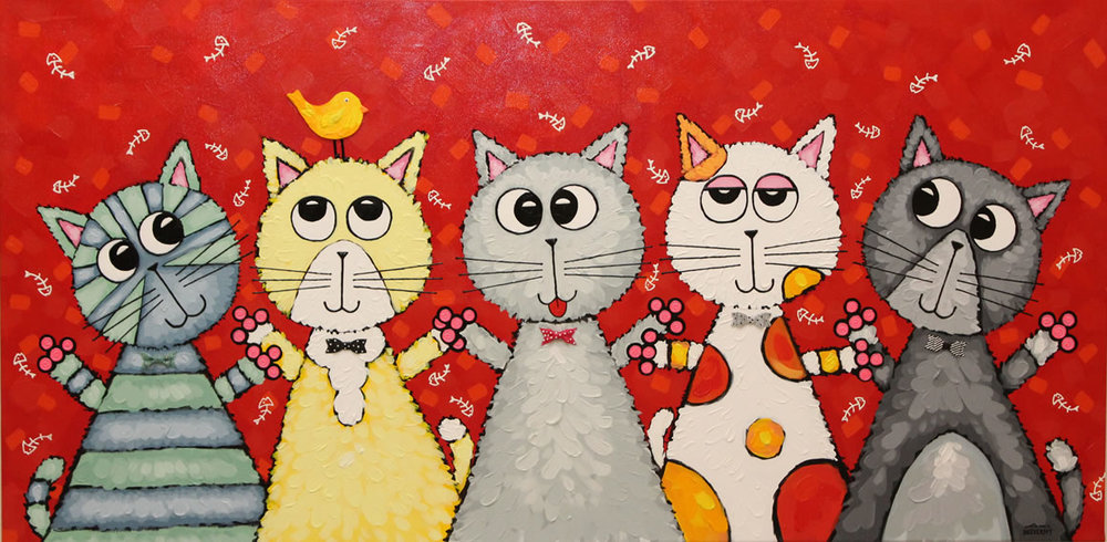 ANNA SHEVERSKY  Cat Family of 5 Original Oil 24 X 48