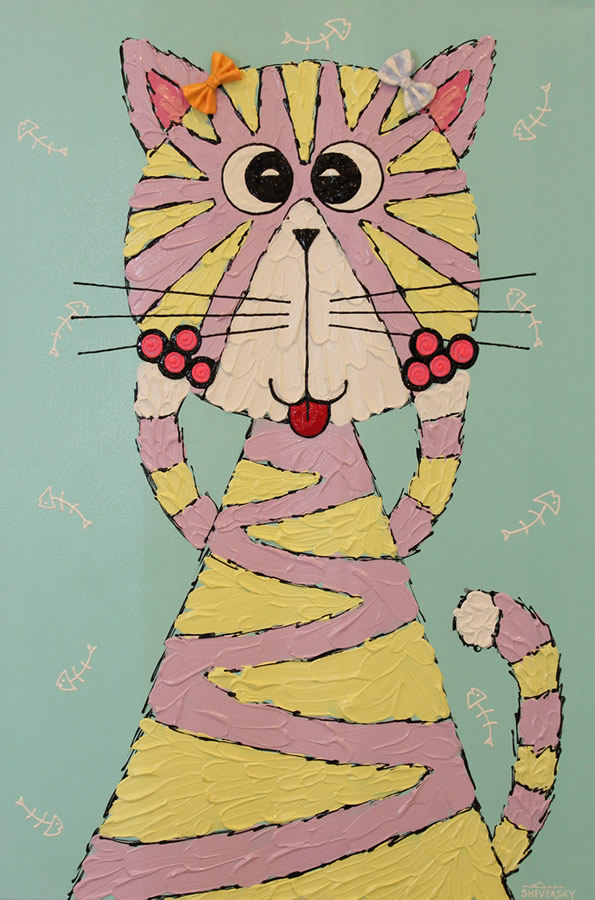 ANNA SHEVERSKY  Cat in Stripes Original Oil 36 X 24